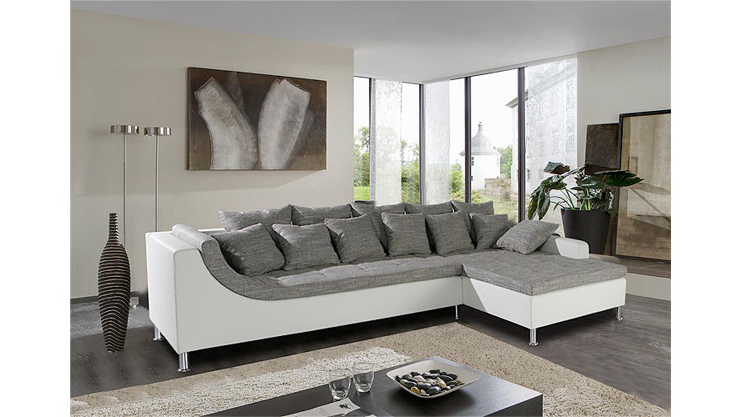ecksofa montego sofa ottomane wei grau mit 6 r ckenkissen. Black Bedroom Furniture Sets. Home Design Ideas