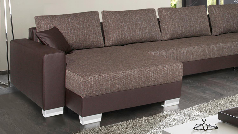 wohnlandschaft abby braun mit bettkasten und ottomane. Black Bedroom Furniture Sets. Home Design Ideas