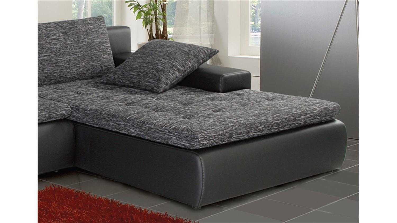 ecksofa alfa wohnlandschaft in schwarz grau mit g stebett. Black Bedroom Furniture Sets. Home Design Ideas