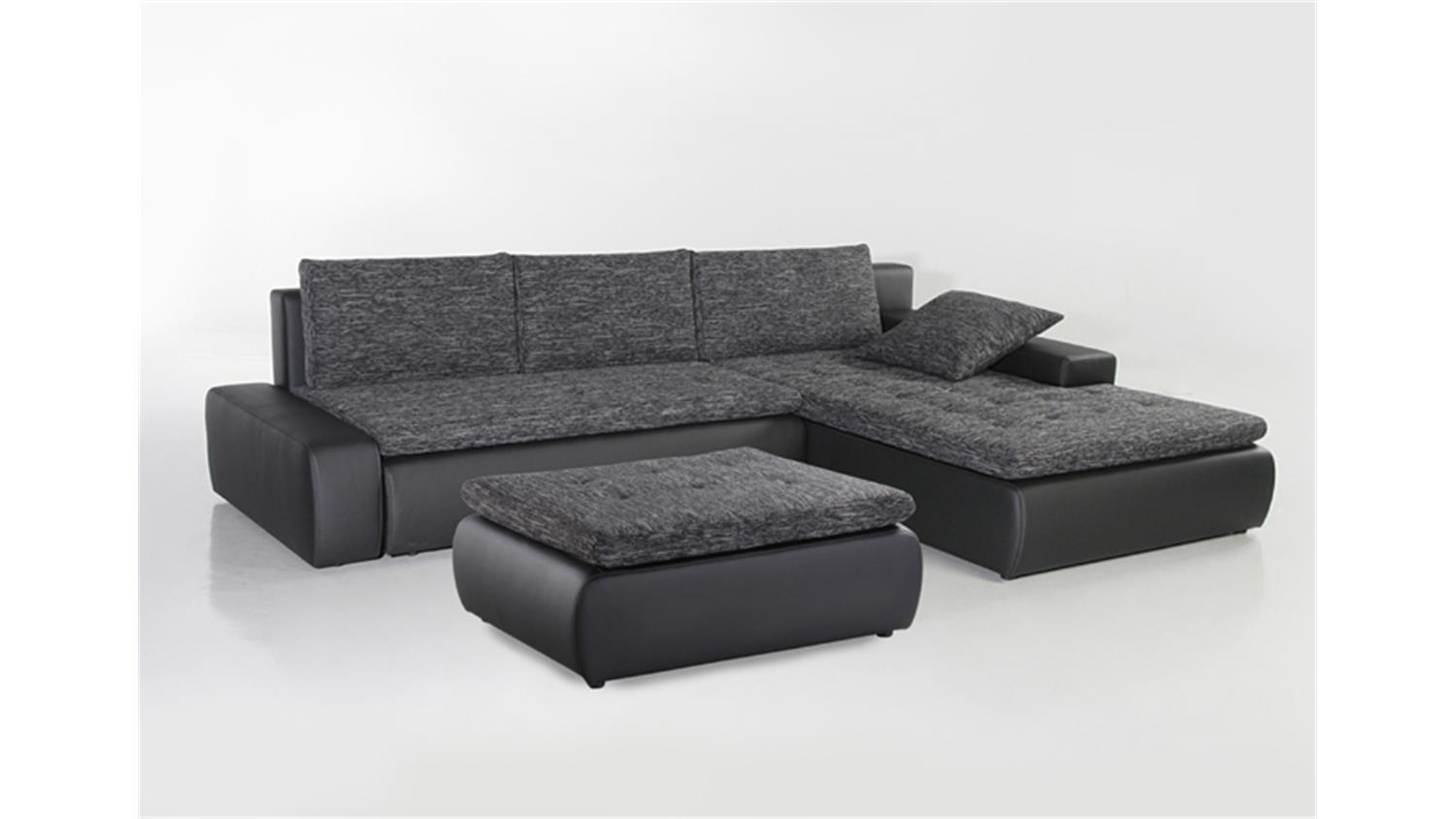 ecksofa alfa wohnlandschaft in schwarz grau mit g stebett. Black Bedroom Furniture Sets. Home Design Ideas