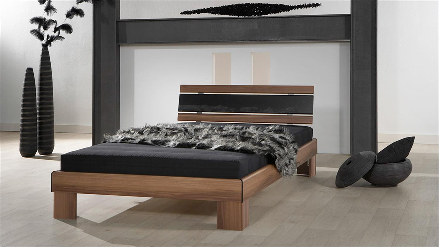 futonbett rhone bett in nussbaum schwarz mit rollrost und matratze 120. Black Bedroom Furniture Sets. Home Design Ideas