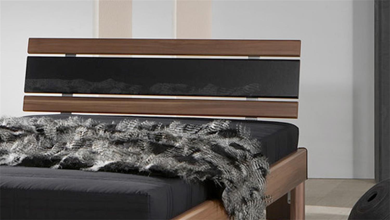 futonbett rhone 120x200 nussbaum mit matratze und rollrost. Black Bedroom Furniture Sets. Home Design Ideas