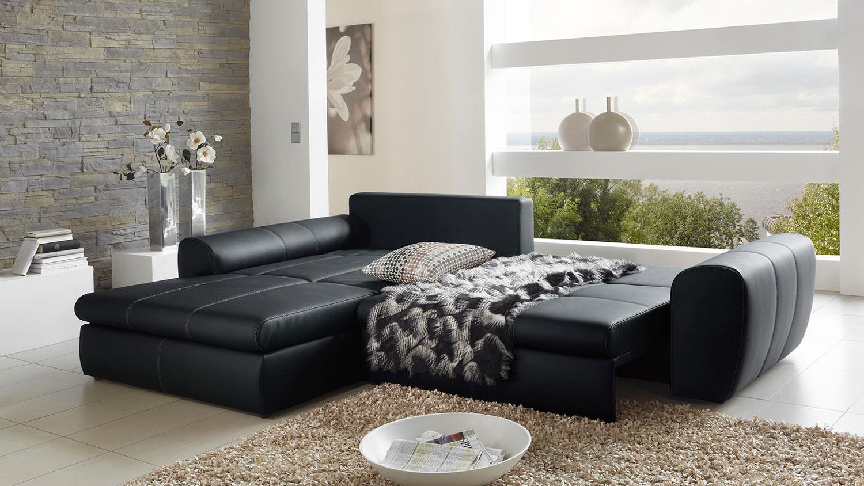 Ledercouch schwarz mit schlaffunktion  Wohnlandschaft CASCADA schwarz mit Bettfunktion