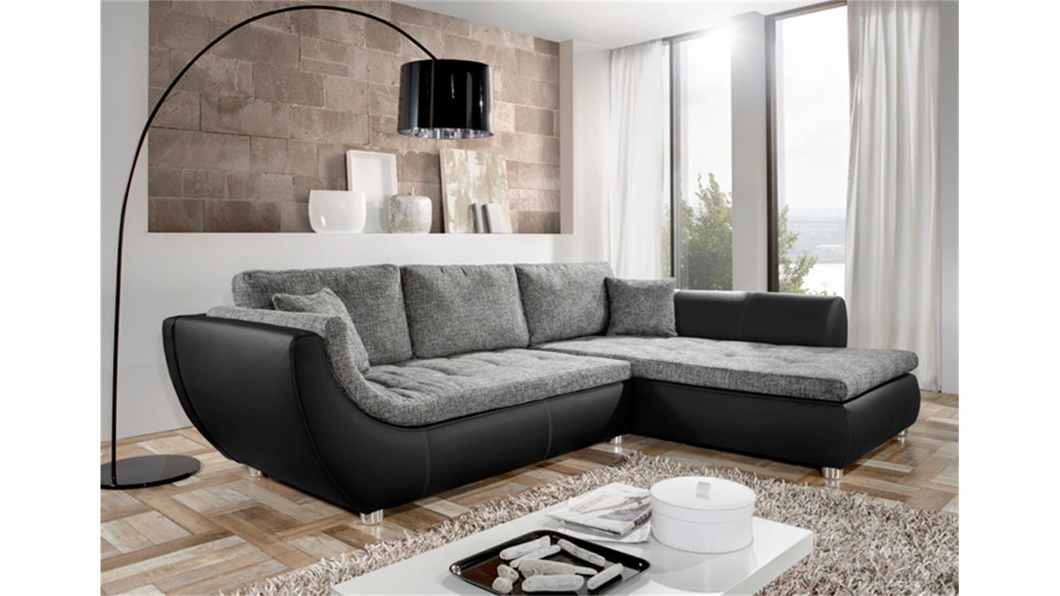 ecksofa wohnlandschaft avus schwarz grau. Black Bedroom Furniture Sets. Home Design Ideas