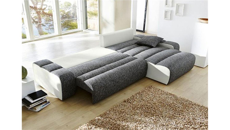 ecksofa milia sofa mit bettfunktion in wei und hellgrau. Black Bedroom Furniture Sets. Home Design Ideas
