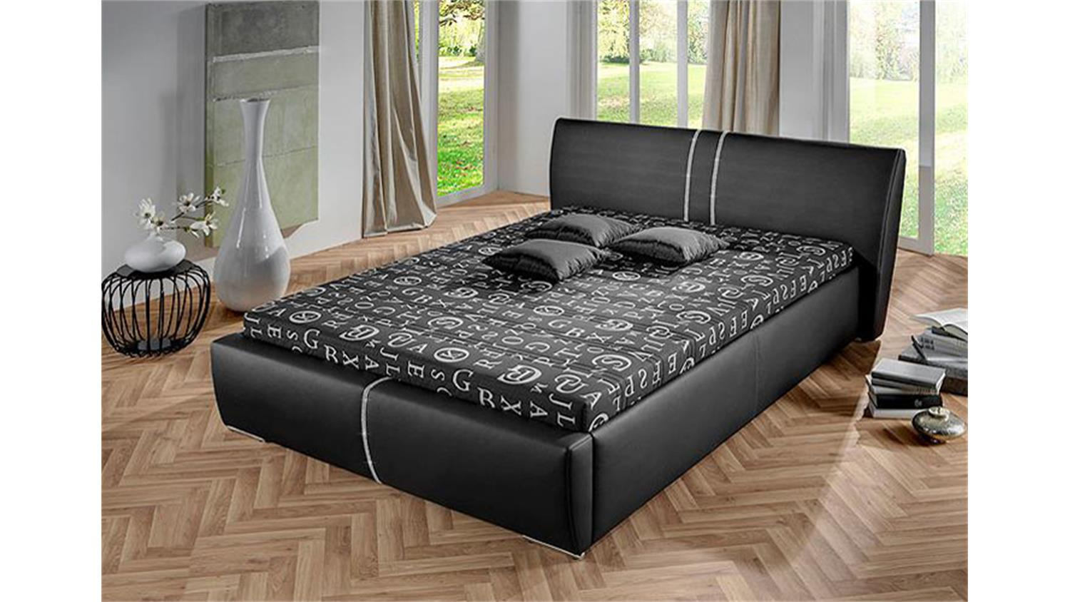polsterbett perry bett in schwarz mit strasssteinen 140x200. Black Bedroom Furniture Sets. Home Design Ideas