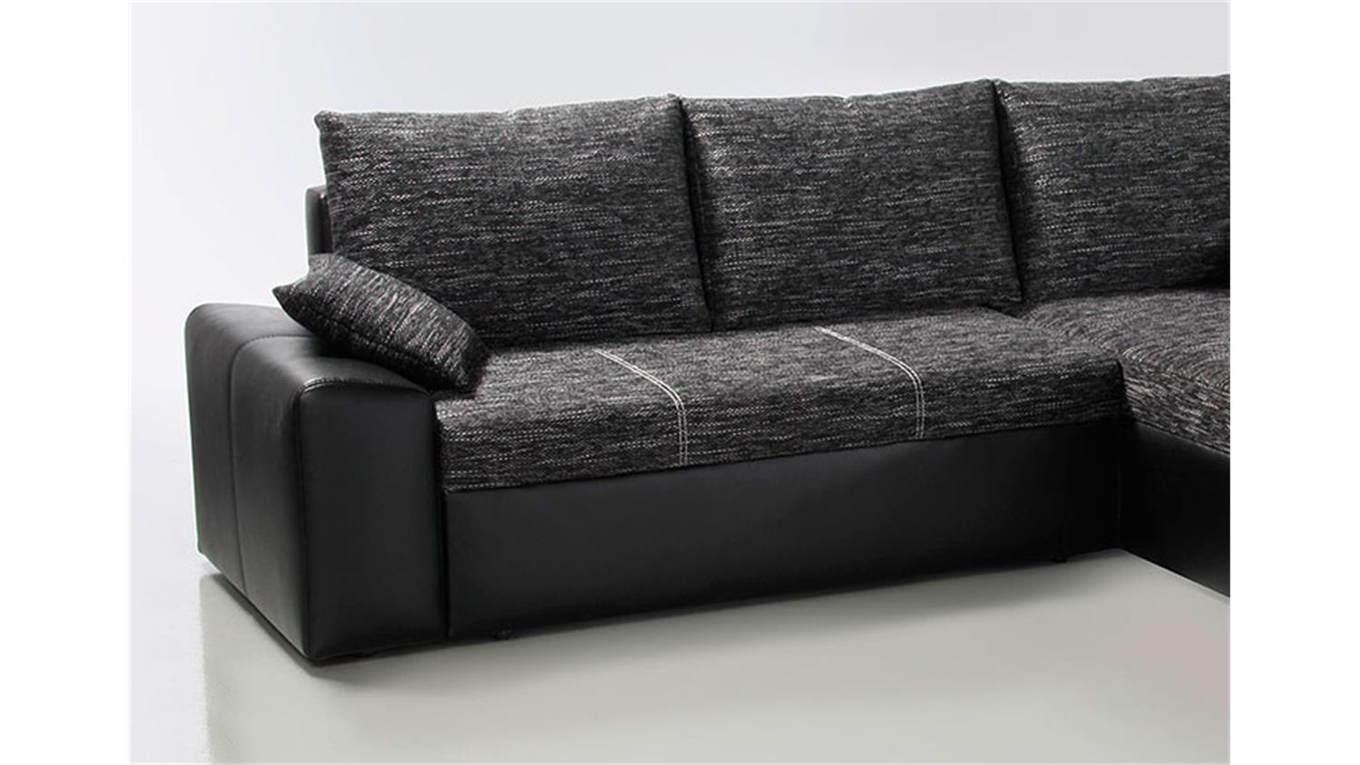 ecksofa kayne mit bettfunktion schwarz grau. Black Bedroom Furniture Sets. Home Design Ideas
