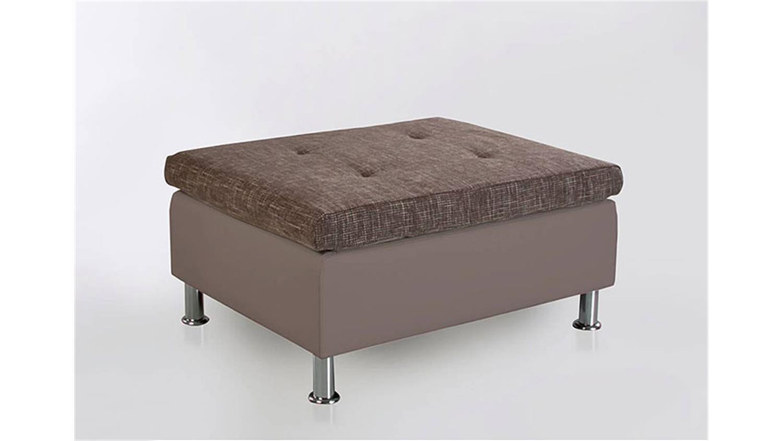 hocker montego sitzhocker polsterhocker in grau und braun. Black Bedroom Furniture Sets. Home Design Ideas