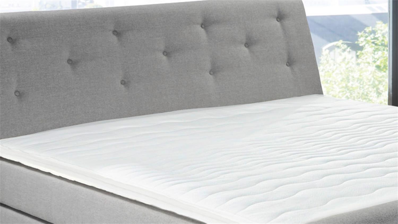 boxspringbett bellevue stoff grau 7 zonen ttfk matratze topper. Black Bedroom Furniture Sets. Home Design Ideas