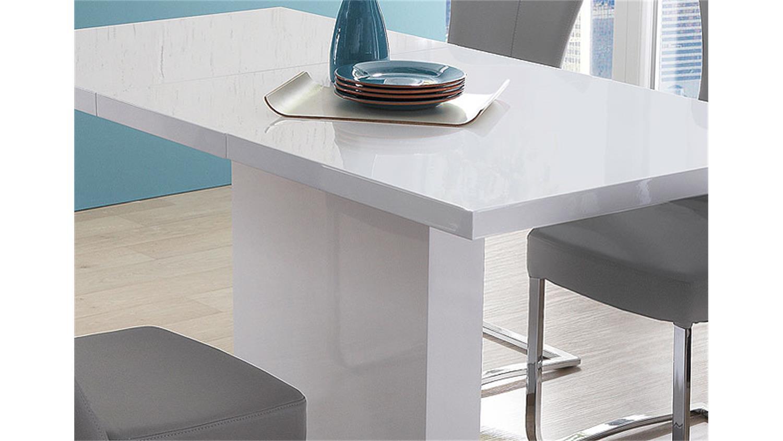 pamela weiß hochglanz lack edelstahl 120(160)x80, Esszimmer dekoo