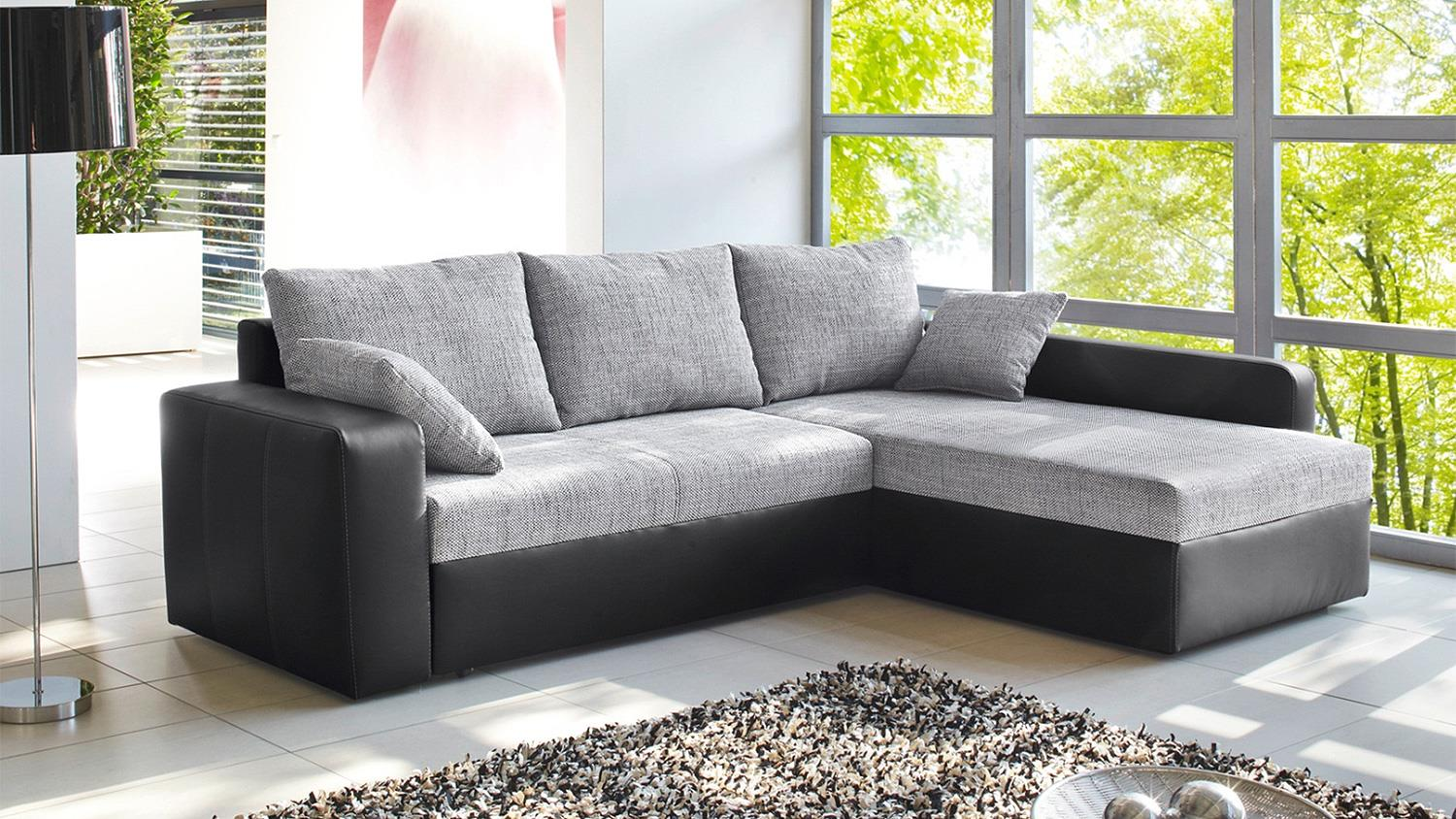 ecksofa viper sofa in schwarz und grau mit bettfunktion. Black Bedroom Furniture Sets. Home Design Ideas
