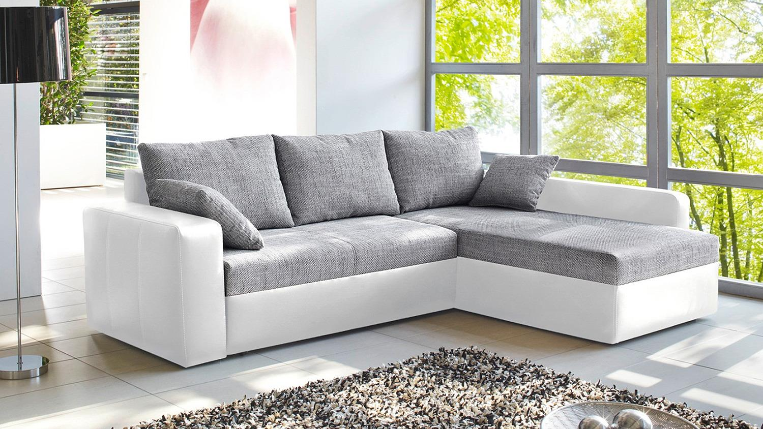 Ecksofa viper sofa in wei und grau mit bettfunktion for Sofa mit bettfunktion