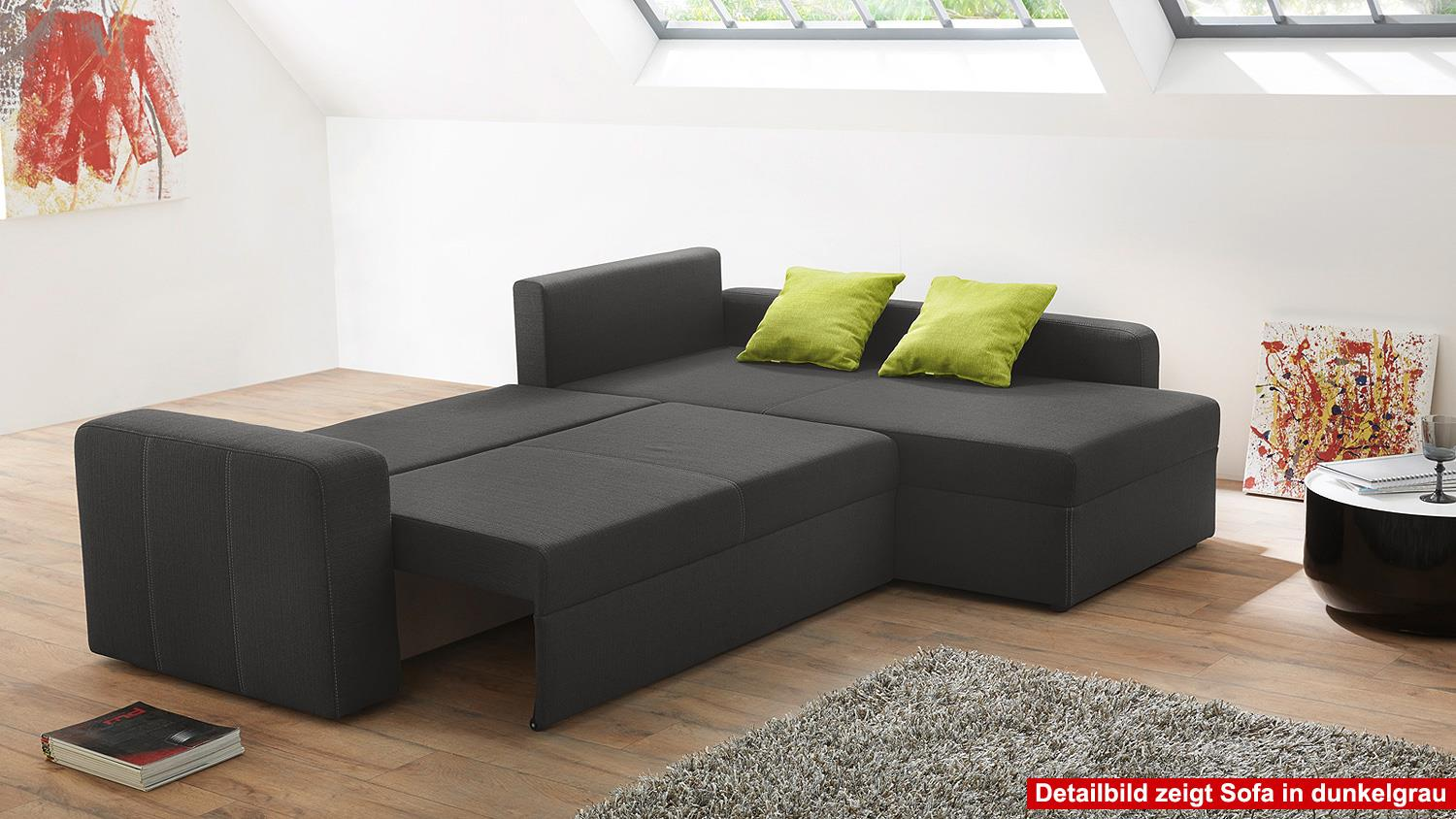 ecksofa viper sofa in wei und grau mit bettfunktion. Black Bedroom Furniture Sets. Home Design Ideas