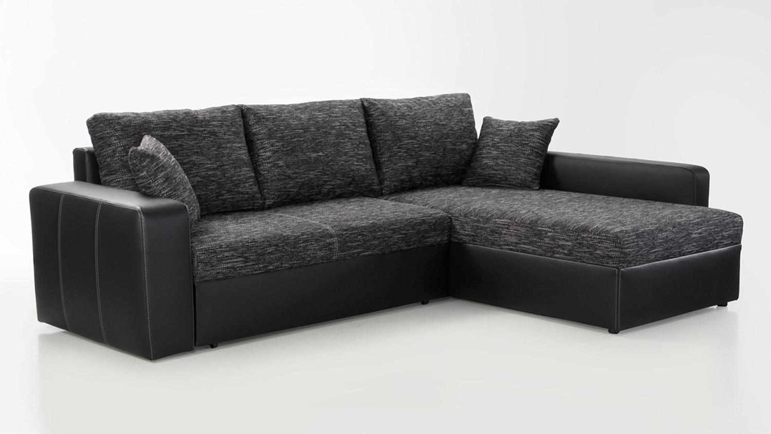 ecksofa viper sofa in schwarz anthrazit mit bettfunktion. Black Bedroom Furniture Sets. Home Design Ideas