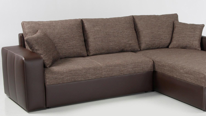 Ecksofa viper sofa in braun mit bettfunktion und kissen for Sofa mit bettfunktion