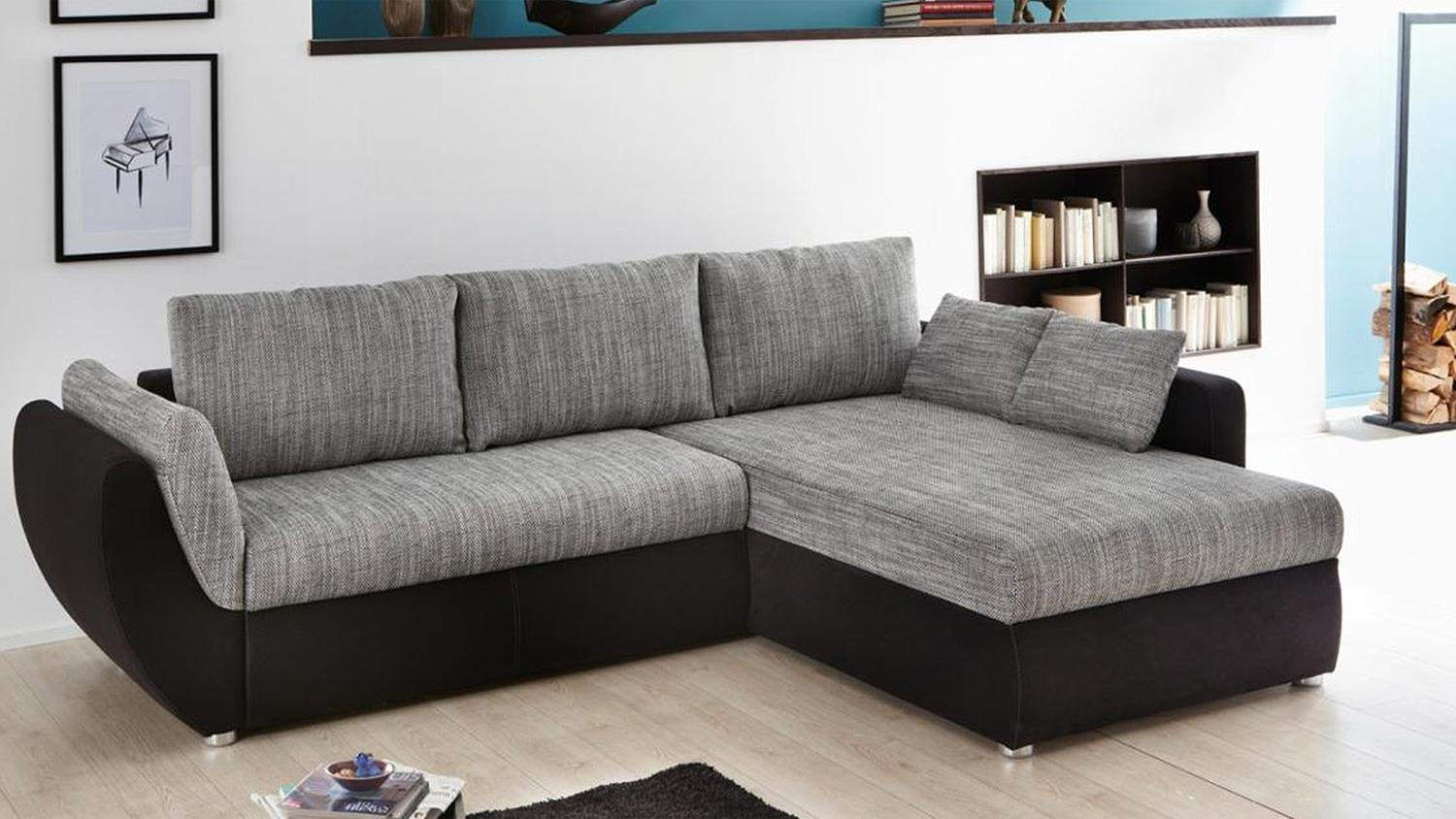 wohnlandschaft taifun ecksofa schwarz grau bettfunktion. Black Bedroom Furniture Sets. Home Design Ideas