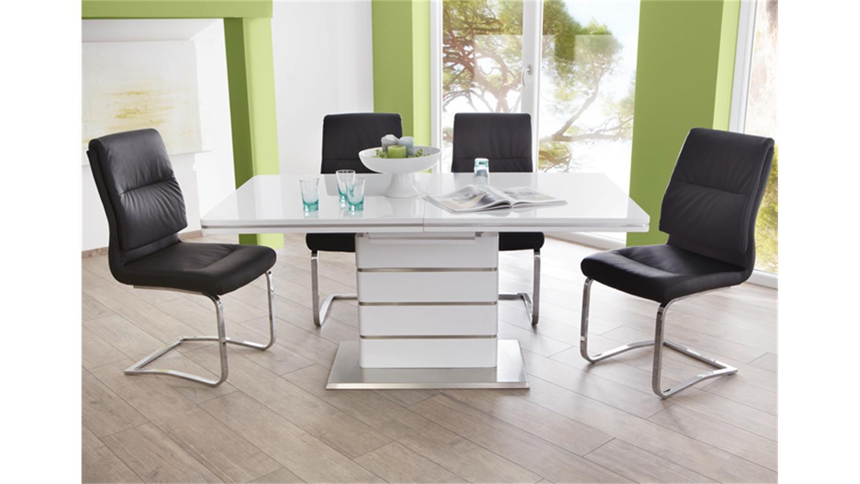 schwingstuhl malte 4er set lederlook schwarz gestell chrom. Black Bedroom Furniture Sets. Home Design Ideas