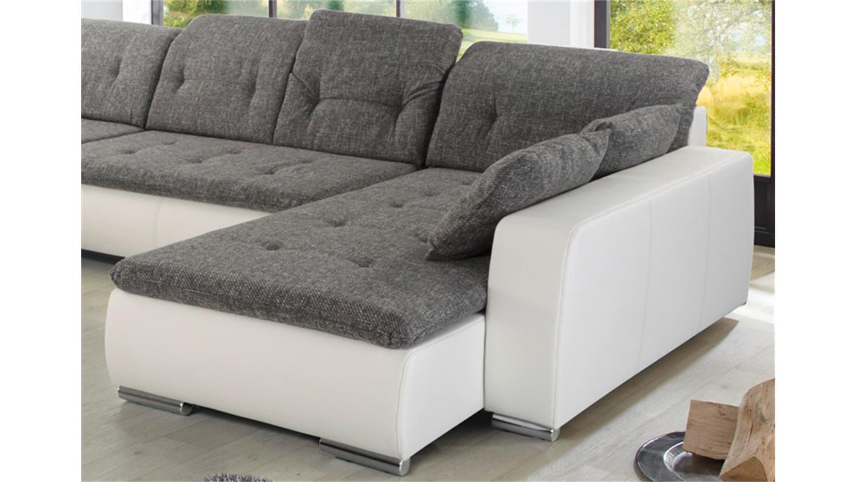 wohnlandschaft ferrara in wei und strukturstoff grau. Black Bedroom Furniture Sets. Home Design Ideas