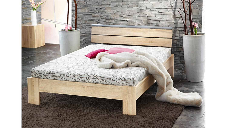 bett sleep sonoma eiche inkl rollrost und matratze 140x200. Black Bedroom Furniture Sets. Home Design Ideas