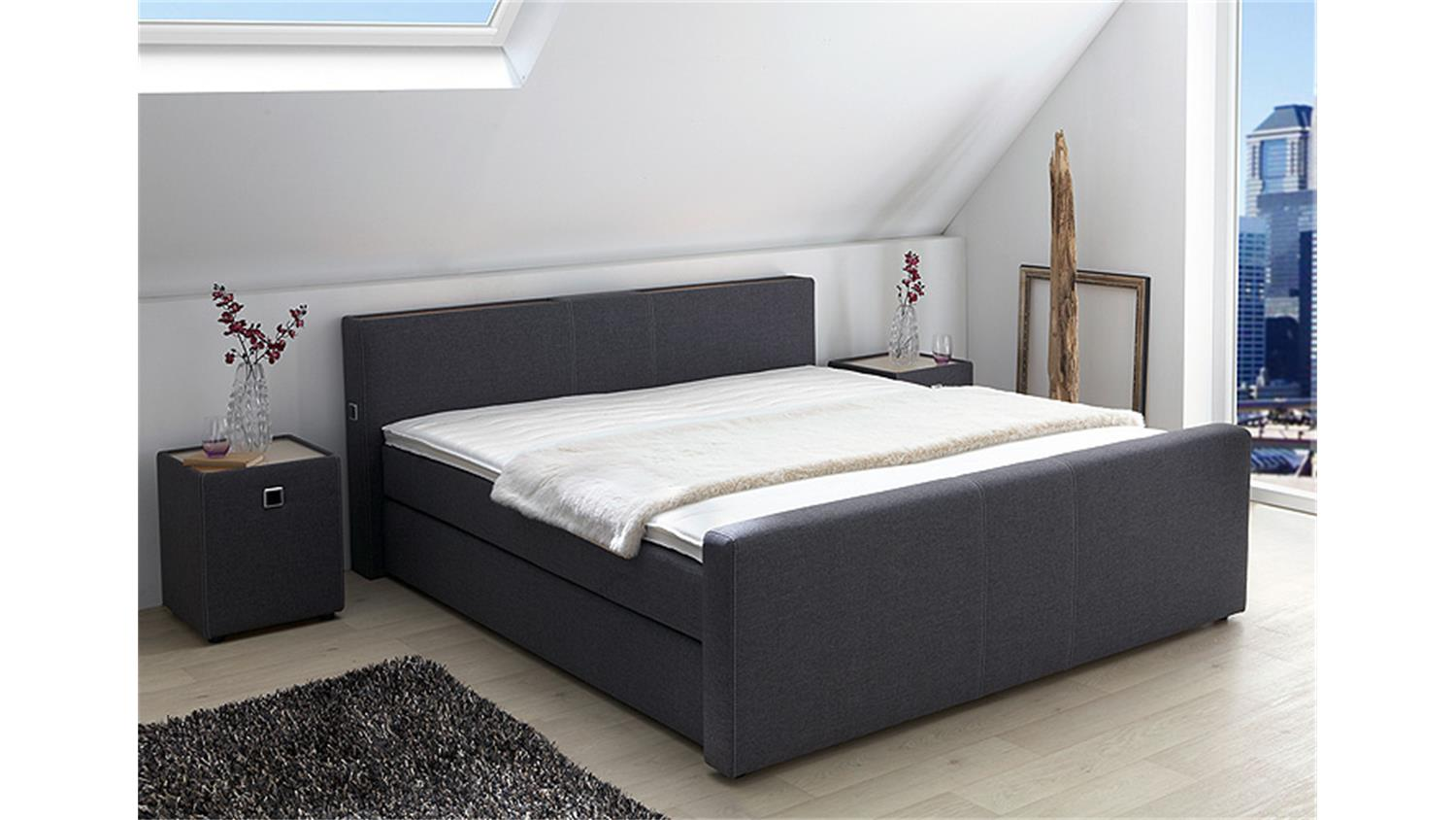 sam led boxspringbett 200 200 cm sapri kunstleder schwarz bonellfederkern box 7 zonen h2 h3. Black Bedroom Furniture Sets. Home Design Ideas