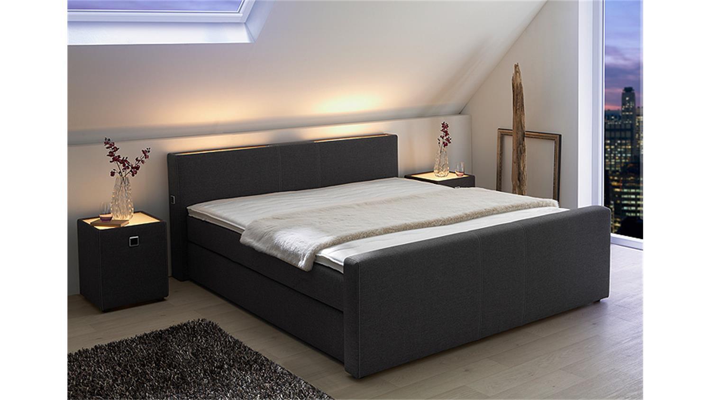 boxspringbett living anthrazit inkl beleuchtung 180x200 cm. Black Bedroom Furniture Sets. Home Design Ideas