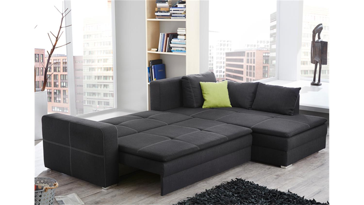 ecksofa domino stoff dunkelgrau mit bettfunktion produktvideo. Black Bedroom Furniture Sets. Home Design Ideas