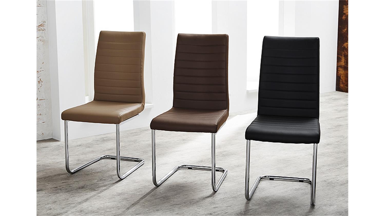 schwingstuhl prag 4er set cappuccino gestell verchromt. Black Bedroom Furniture Sets. Home Design Ideas