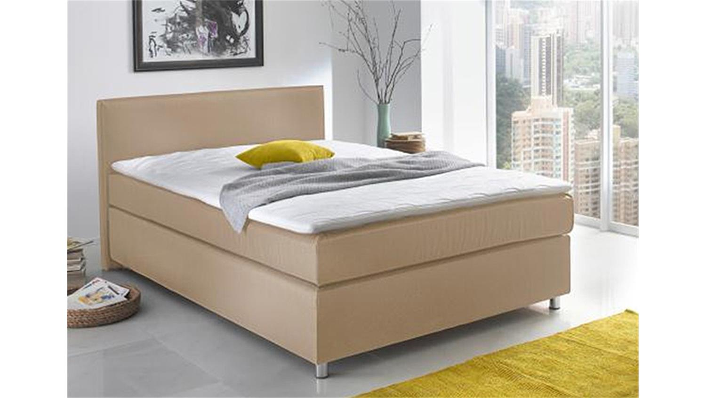 Boxspringbett toca bett schlafzimmer stoff natur 140x200 cm for Boxspringbett schlafzimmer