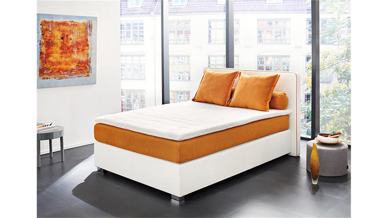 Boxspringbett OSAL Weiß Orange 140x200 cm