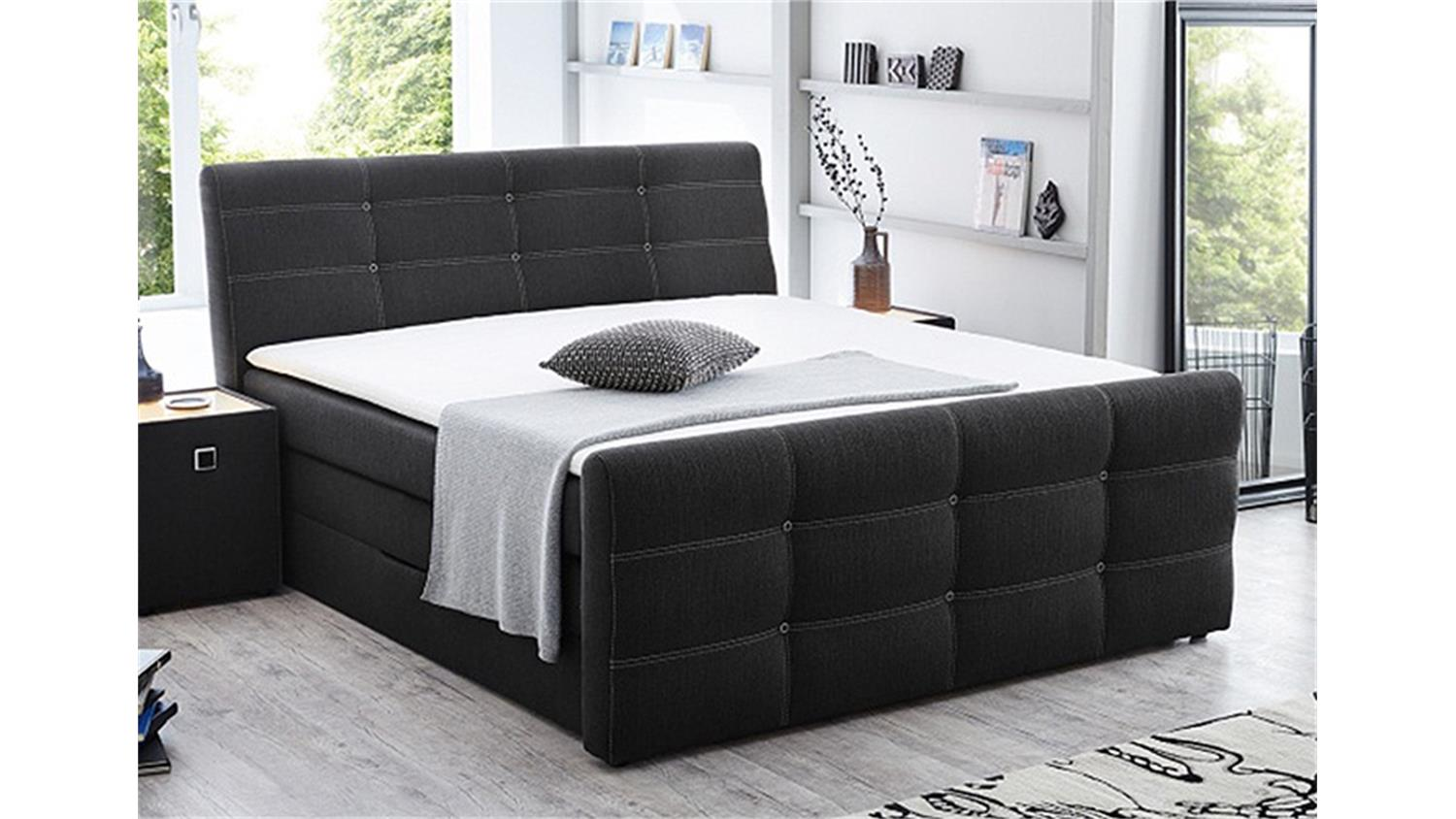 boxspringbett grande bett in grau 180x200 produktvideo. Black Bedroom Furniture Sets. Home Design Ideas