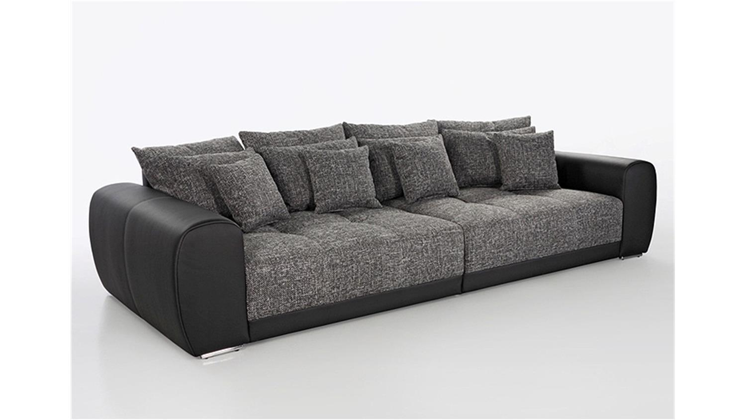 big sofa sam polsterm bel xxl sofa in schwarz grau 310 cm. Black Bedroom Furniture Sets. Home Design Ideas