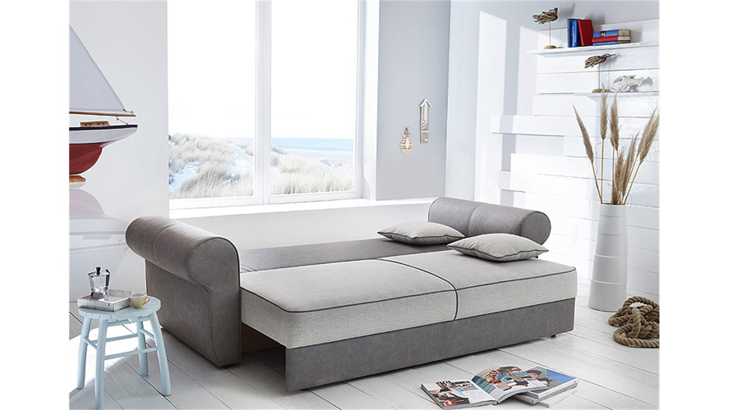 schlafsofa landini sofa dauerschl fer bettkasten grau beige. Black Bedroom Furniture Sets. Home Design Ideas