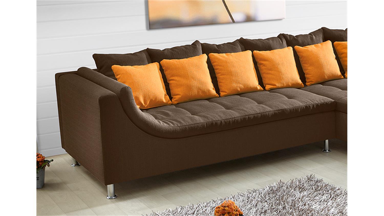 ecksofa montego mit ottomane dunkelbraun mit kissen orange. Black Bedroom Furniture Sets. Home Design Ideas