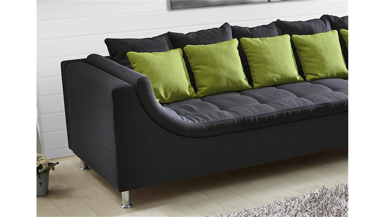 ecksofa montego sofa mit ottomane dunkelgrau kissen gr n. Black Bedroom Furniture Sets. Home Design Ideas
