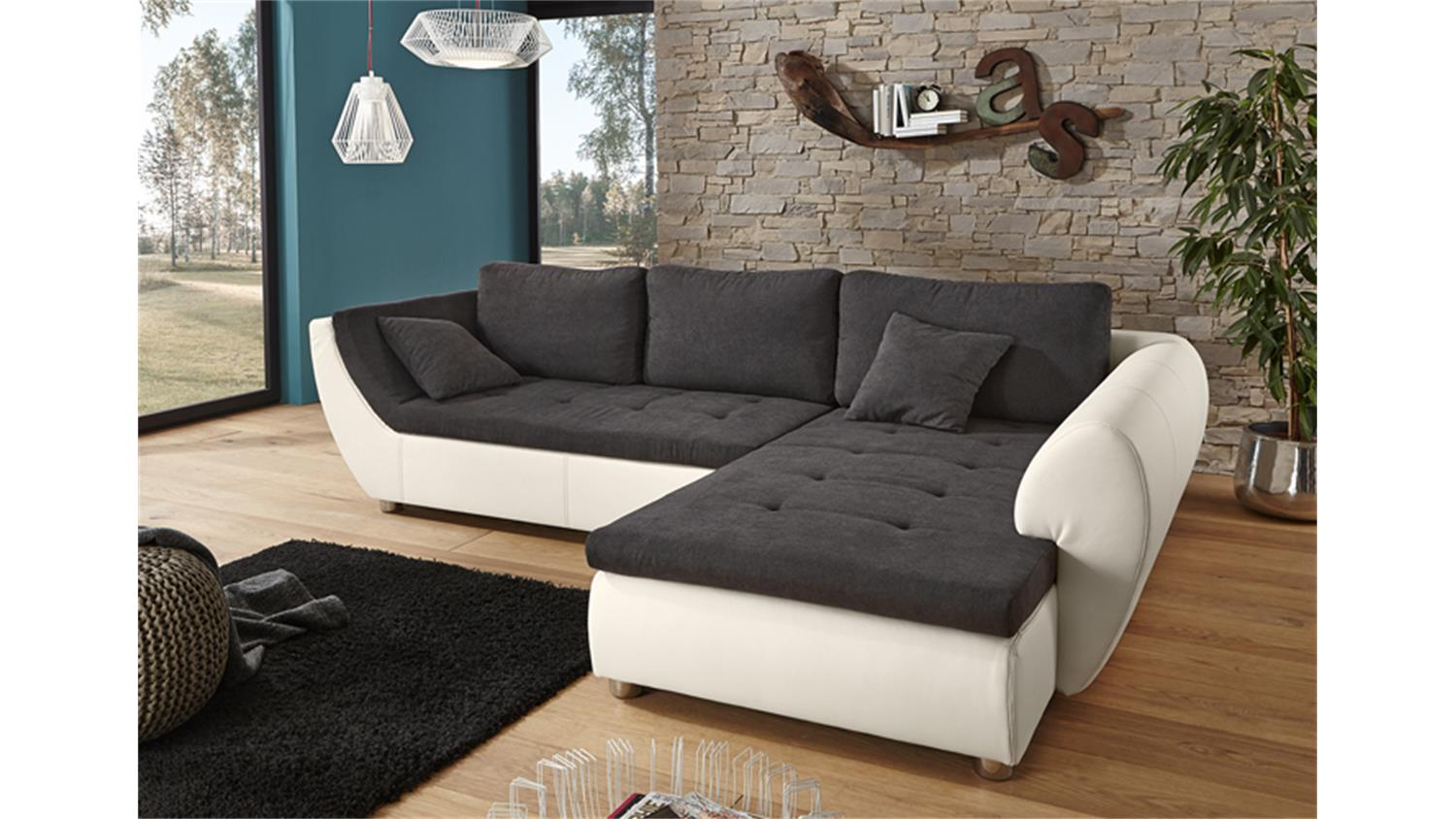 ecksofa wohnlandschaft avus wei microfaser grau. Black Bedroom Furniture Sets. Home Design Ideas