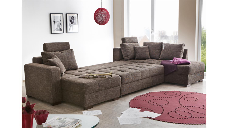 wohnlandschaft antego mit g stebettfunktion stoff braun. Black Bedroom Furniture Sets. Home Design Ideas