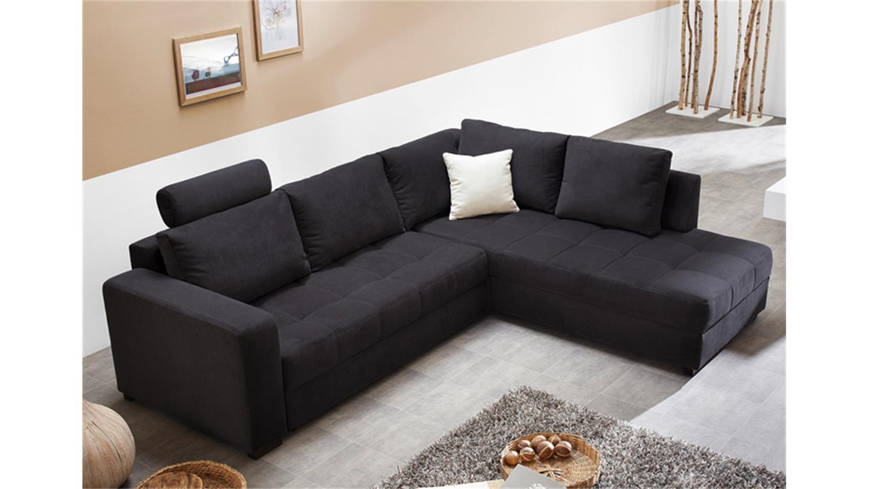 ecksofa aura microfaser schwarz mit g stebett und bettkasten. Black Bedroom Furniture Sets. Home Design Ideas