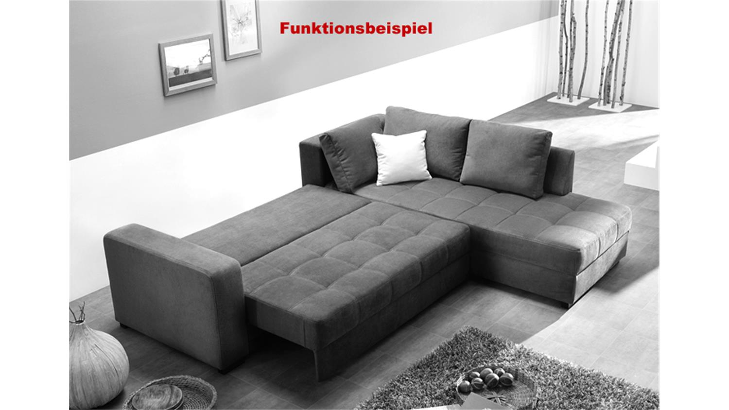 ecksofa aura microfaser grau mit g stebett und bettkasten. Black Bedroom Furniture Sets. Home Design Ideas