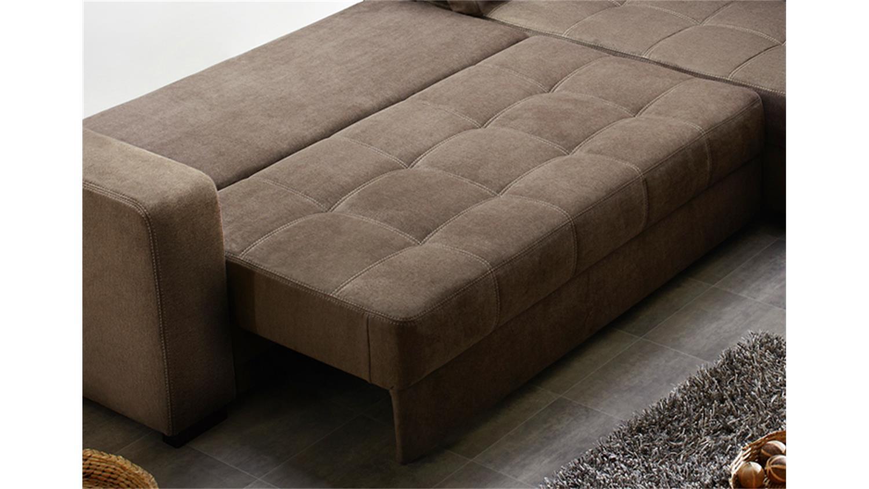 ecksofa aura microfaser braun mit g stebett und bettkasten. Black Bedroom Furniture Sets. Home Design Ideas