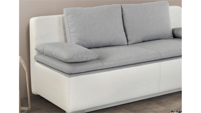schlafsofa duett in wei mit flachgewebe hellgrau. Black Bedroom Furniture Sets. Home Design Ideas