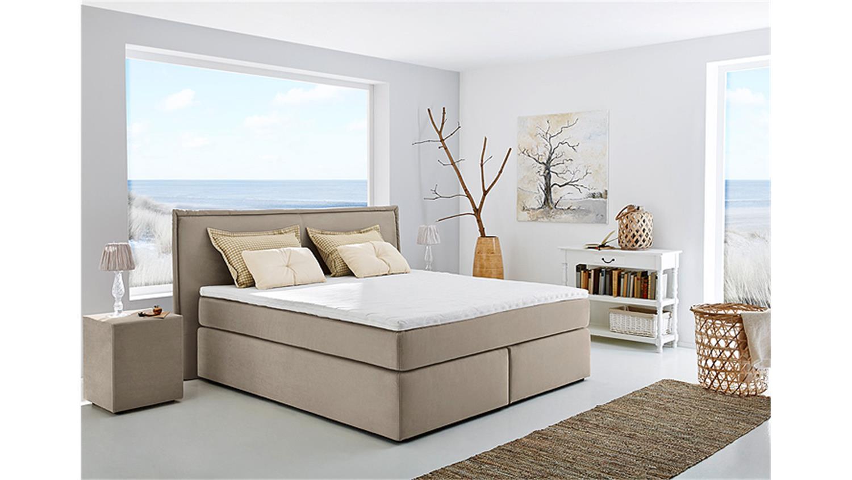 boxspringbett ascoli bett in beige mit tandembezug 180x200. Black Bedroom Furniture Sets. Home Design Ideas