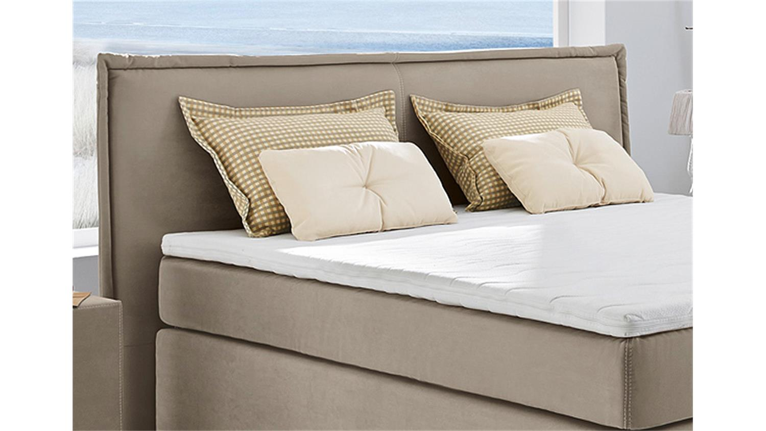 boxspringbett ascoli bett in beige mit tandembezug 180x200. Black Bedroom Furniture Sets. Home Design Ideas