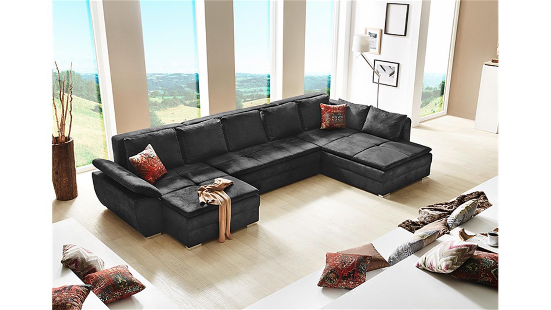 Wohnlandschaft saragossa sofa ecksofa schlaffunktion schwarz for Wohnlandschaft neo
