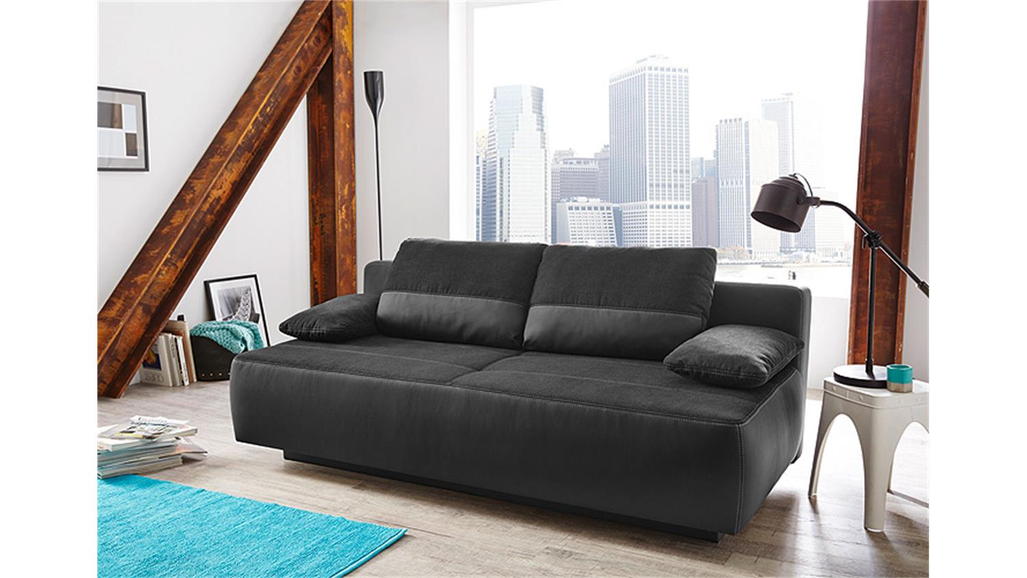 funktionssofa venedig schlafsofa sofa in schwarz bettkasten. Black Bedroom Furniture Sets. Home Design Ideas
