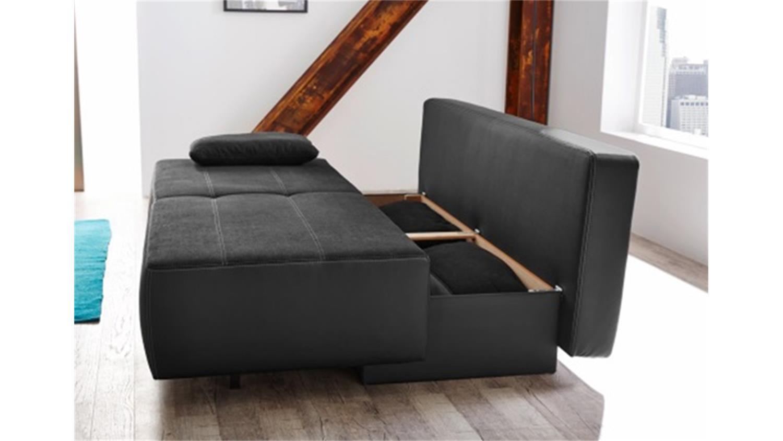 Schlafsofa mit bettkasten jugendzimmer  VENEDIG Schlafsofa Sofa in schwarz Bettkasten