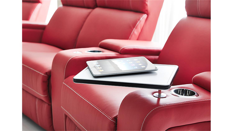 s 4er cinema sessel hollywood lederlook rot. Black Bedroom Furniture Sets. Home Design Ideas