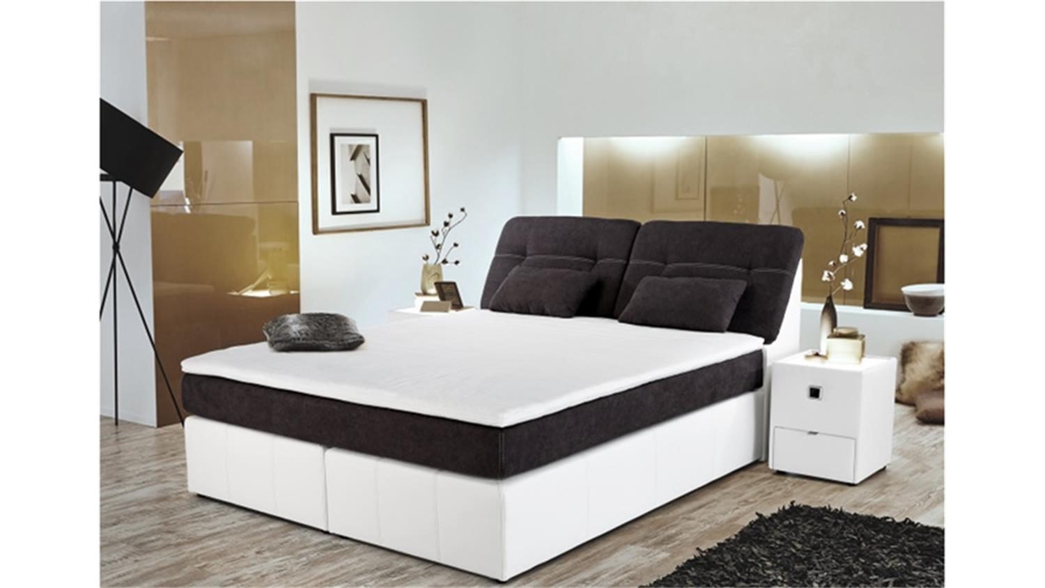 boxspringbett vicky bett schlafzimmerbett in grau wei 180x200 cm. Black Bedroom Furniture Sets. Home Design Ideas