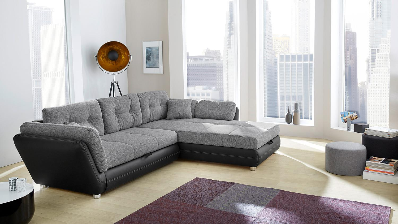 wohnlandschaft java ecksofa schwarz grau mit bettfunktion. Black Bedroom Furniture Sets. Home Design Ideas
