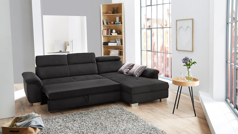 wohnlandschaft landshut ecksofa in grau mit bettfunktion. Black Bedroom Furniture Sets. Home Design Ideas