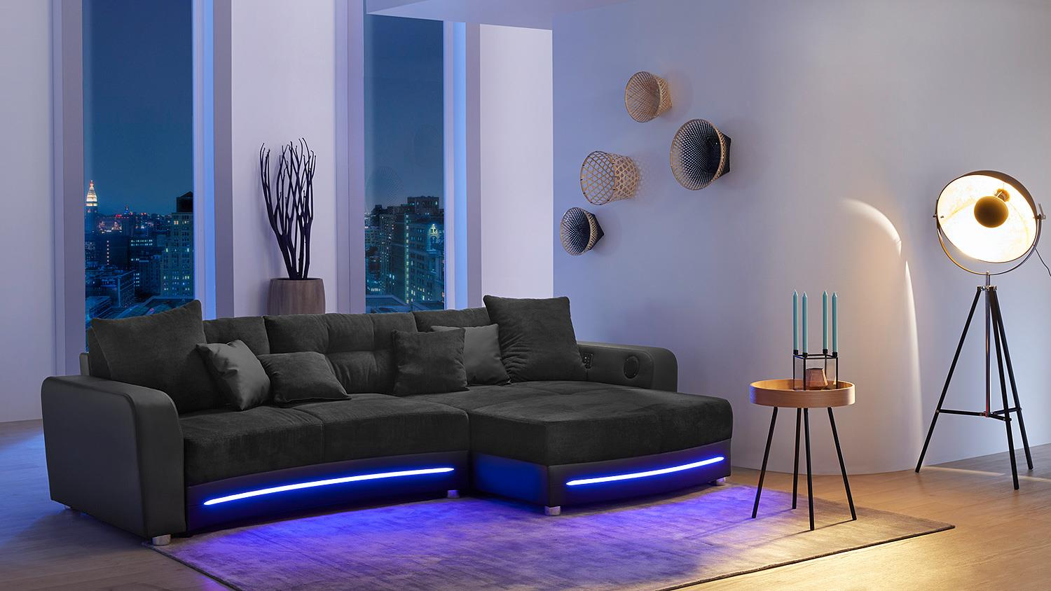 wohnlandschaft laredo sofa schwarz mit led und soundsystem. Black Bedroom Furniture Sets. Home Design Ideas